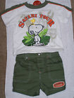SNOOPY WOODSTOCK Boys 2 Pc Outfit Shirt Shorts Jean Denim VARIOUS DESIGNS