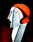 1626 Lady facing sideways wears red hat vintage POSTER. Wall Decorative Art.