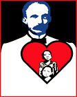 1852 Jose Marti's big heart w/ people in it quality POSTER. wall Decorative Art.