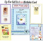 50 Year Old Today 50th Birthday Card To For Male Female Cute Classic Sp Free P&P
