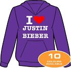 I HEART LOVE JUSTIN BIEBER HOODIE AVAILABLE KIDS & ADULTS AND IN 10 COLOURS