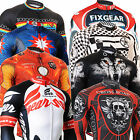 New Mens cycling jersey FIXGEAR bike clothing tights bicycle printing top S~3XL