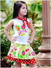 NEW Greggy Girl Fruitylicious 3pc Skirt Set 3T and 4T NWT Boutique