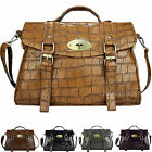 Designer Leather Style Vintage Croc Satchel Laptop Handbag Tote Crossbody  Bag