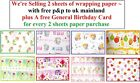 2 Sheets of Gift Wrap Wrapping Paper Suit Birthday Or Any Occasion ~ Uk Free P&P