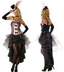 Burlesque Moulin Rouge Fancy Dress Can Can Girl Costume Outfit + Hat & Glove