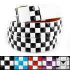 3-Row Metal Pyramid Studded Leather Belt 2-Tone Checker Punk Rock Goth Emo White