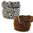 Leopard Print Faux Fur Textured Leather Belt Animal Cheetah Unisex Mens Womens
