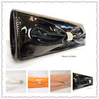 BLACK ORANGE PINK NUDE WHITE BEIGE PATENT PROM WEDDING EVENING CLUTCH HANDBAG