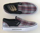 Skechers Kids 'Tossers Polymer' Shoes sz 1 Youth Slip-On Plaid Canvas NEW
