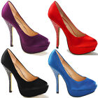 Ladies Diamonte Studded Heel & Corsage Platform Court Wedding Evening Shoes