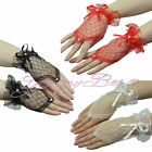 Black White Red Lace Gloves Fingerless Fancy Dress Burlesque Party Halloween