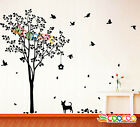 """Wall Decor Decal Sticker Removable Vinyl Large Tree Dc0223 60""""h With Dog Birds"""