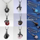 6/style 316L Stainless Steel Claw Talon Gemstone Ball Bead Pendant Necklace Punk