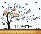 """Wall Decal Sticker Removable Photo Frame Tree With Family Branches Quote 108""""H"""
