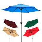 8' ft Patio Umbrella Aluminum Crank Tilt Deck Sunshade Cover Outdoor Yard Beach