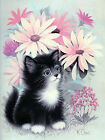 5991.Pretty kitty and flowers POSTER.Baby Home interior room design art.