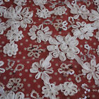 1m 3D Satin Ribbon Flower Sequin Tulle Lace Fabric Bridal Dress Off White Taupe