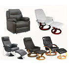 New Faux Leather Swivel Chair & Footstool - Massage & Recliner Armchairs & Stool