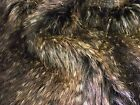 Super Luxury Faux Fur Fabric Material - BROWN CHEVRON PEACOCK