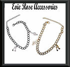 New Musical Note & Treble Clef Charm Large Chain Link Bracelet Rockabilly Kitsch