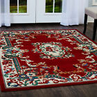 ORIENTAL RED BORDER MEDALLION BURGUNDY TRADITIONAL AREA RUG PERSIAN CARPET