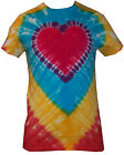 T Shirt Tie Dye, All Sizes,  Rainbow Heart, hand crafted in the UK