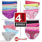 Bonds Girls 4 Pack Briefs Undies Underwear Kids Baby Size 2 3 4 6 8 10 12 14 16