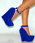 LADIES COBALT NAVY ROYAL BRIGHT BLUE SUEDE BOW PEEP TOE WEDGES HIGH HEELS SHOES