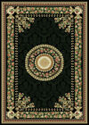 BLACK GREEN CREAM PLUM ROSE BORDER AREA RUG TRADITIONAL FLORAL MEDALLION CARPET
