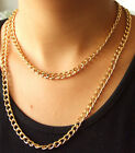 "Newest Shiny Cut Twist Gold Plated Chunky Aluminium Curb Chain Necklace 18"" 38"""