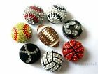 10pcs Sports DIY Slide Charms with Rhinestone Football,rugby.Baseball.basketball