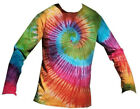 Long Sleeve T  Shirt Tie Dye, Size S-XXL,   Rainbow Spiral, Hand Dyed  in the UK