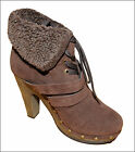 WOMENS BROWN FUR CUFF LACE UP ANKLE BOOTS LADIES UK SIZE 3-8
