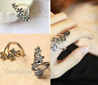 Retro Antique Vintage Costume Jewellery Silver Brozne Plum  Flower Twist Ring