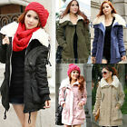 Korea Womens Thicken Fleece Jacket Zip Winter Coat Hooded Parka Long Overcoat