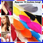 "13""LONG gold pl FEATHER HAIR CLIP PIN EXTENSION hot pink,black,blue FEATHERS"
