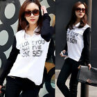 Stylish Color Blocking Button Down Shirt Top Blacks Whites Letters Print Womens
