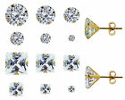 9CT YELLOW GOLD ROUND CUBIC ZIRCONIA STUD EARRINGS VARIOUS SIZES 3MM UPWARDS