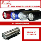 9 ULTRA BRIGHT LED POWERFUL ALUMINIUM MILITARY CAMPING TORCH FLASHLIGHT