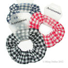 SCHOOL COLOURS GINGHAM DESIGN HAIR BAND SCRUNCHIE ELASTIC RED BLACK OR NAVY BLUE
