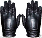 Men's Black Real Leather Nappa Gloves with Hand Stitch Finish & Fleece Lining