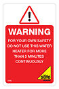Gas Safe Flueless Warning - Do not Use for more than Five Minutes Labels