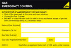 Gas Safe Emergency Control Self-adhesive Labels
