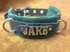 Personalized leather dog collar choose crystals or silver name JAKE COOPER ZEUS