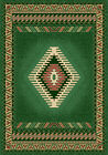 GREEN bordered SOUTHWESTERN lodge CARPET native AMERICAN geometric AREA rug