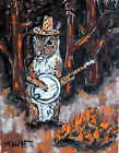 squirrel banjo animals signed art print impressionism modern gift new PRINTS