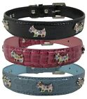 Dog Collar Doggy Diamante Emblems on Croc Effect Leather - UK stocked!