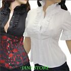 Sexy Trendy Outfit Wht/Blk selection Ruffles Blouse Shirt UK 8 10 12 14 16 18