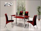 ROVIGO LARGE GLASS CHROME DINING ROOM TABLE AND 4 CHAIRS SET-135 cm - IJ614-818L